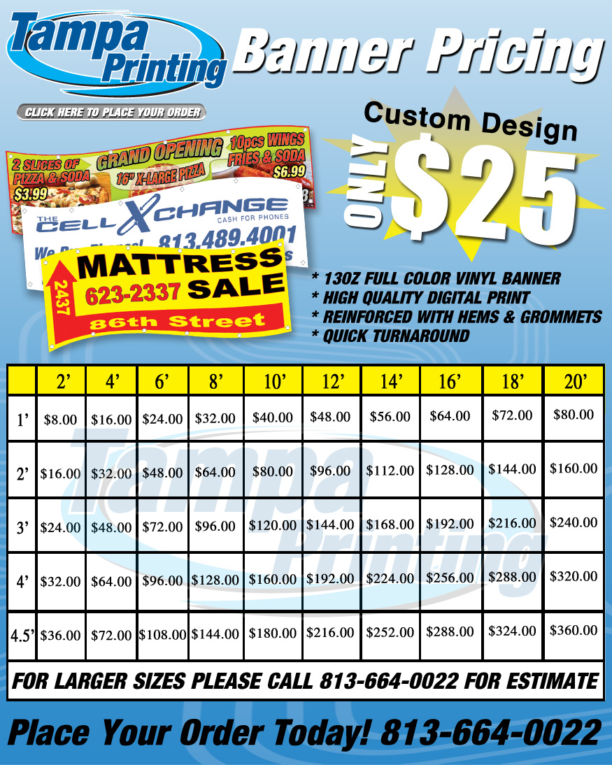 Banner Pricing from Tampa Printing